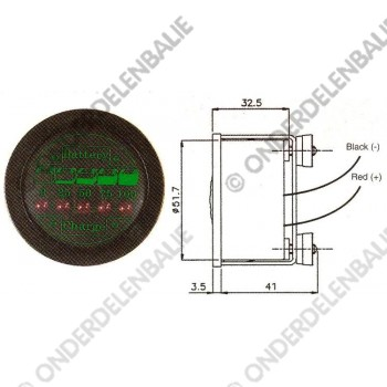 acculadingmeter 36 V diameter 52 mm