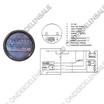 acculadingmeter 36 V met uitschakeling  52 mm