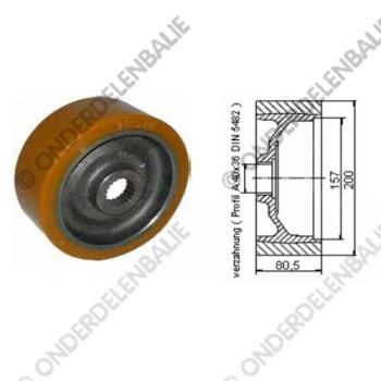 aandrijfwiel PU diam. 200 mm